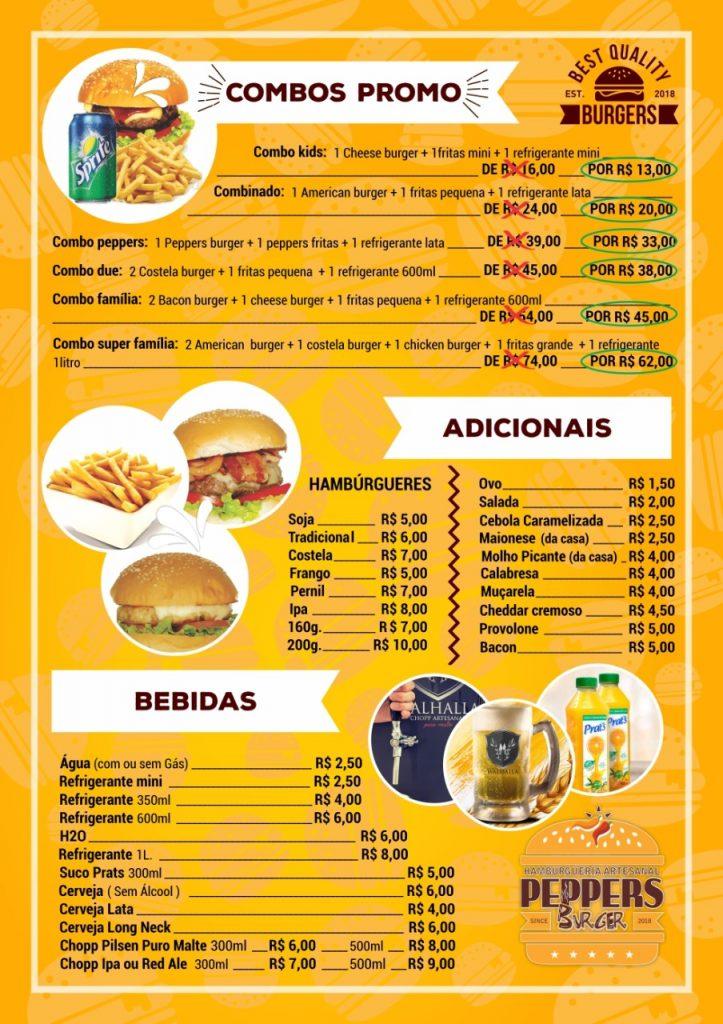 Menu - Peppers Burger - Terra Boa - Telefone